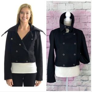 AG wool black cropped jacket snap button closure